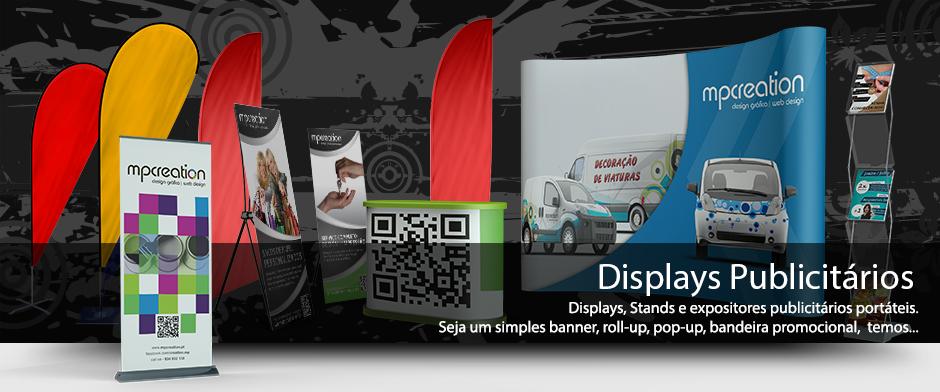 Displays, Stands e expositores publicitários portáteis.