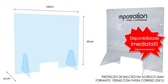 Proteção Acrílica para Balcão L100xA60
