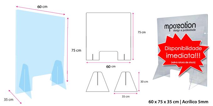 Proteção Acrílica para Balcão L60xA75