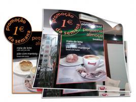 Design e produção de menu promocional em PVC + Vinil Impresso.