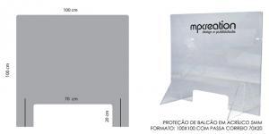 Proteção Acrílica para Balcão L100xA100
